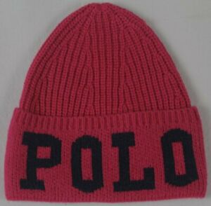 Polo Ralph Lauren Kids Pink Wool Cuff Beanie Hat Skull 4-6X NWT