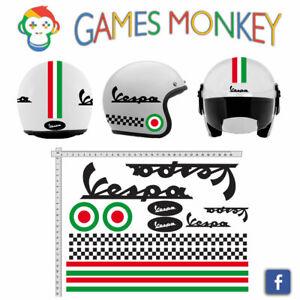 ADESIVI-CASCO-VESPA-Nero-Kit-Strisce-Bandiere-Italia-Cerchio-Helmet-VINILE
