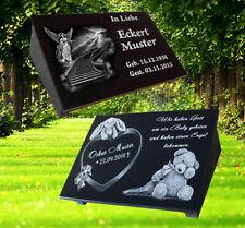 Granit Grabstein mit Stützen ca.30x20cm und Ihr Foto F2 Grabplatte Tiergrab