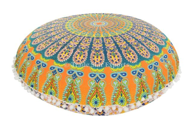 Ethnic Ombre Mandala Round Floor Pillows Cotton Cushion Cover Poufs With Insert