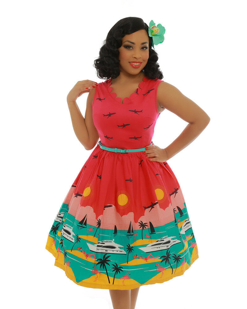 Lindy Bop 'Daria' Hot Pink Yacht 8-26 Swing Print Dress Pinup Retro