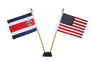 """USA & COSTA RICA 4"""" X 6"""" DOUBLE STICK FLAG WITH BLACK STAND ON 10"""" PLAST. POLE"""