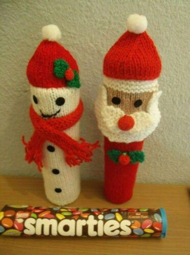 CHRISTMAS SNOWMAN /& FATHER CHRISTMAS SANTA SMARTIES COVER KNITTING PATTERN