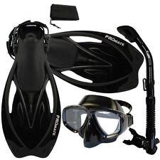 Snorkeling Purge Mask, Dry Snorkel, Fins, Bag Dive Gear Gift Package Set