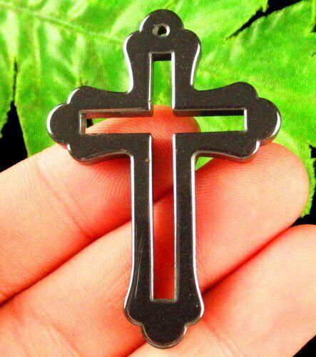 2Pcs 48x34x4mm sculpté noir hématite Pendentif Croix Perles S22446
