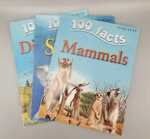 100 Facts Books Miles Kelly Lot 3 Dinosaurs, Mammals, Sharks,