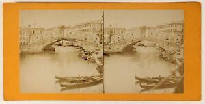 Venezia Pont Rialto Italia Foto Stereo PL55L4n Vintage Albumina c1865