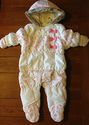 BNWT Next Snowsuit Hooded With Mittens Pink White Bows Ditsy Girl All In One