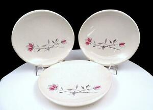 FRANCISCAN-DUET-PINK-AND-GRAY-FLORAL-THREE-BREAD-AND-BUTTER-PLATES-1956-1961