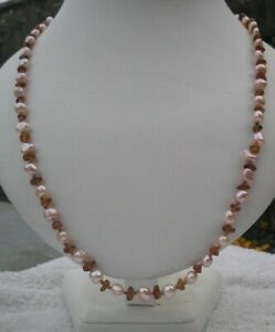PALE-PEACH-PEARL-AMBER-NECKLACE-EARRINGS-ROSE-GOLD-PLATED-925-BOLT-22-INCH-SILK