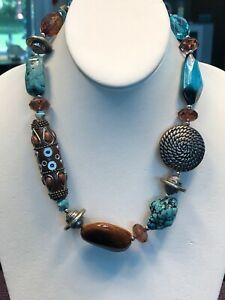 Vintage-Turquoise-Stone-Bohemian-Glass-Beaded-Bib-Statement-Necklace