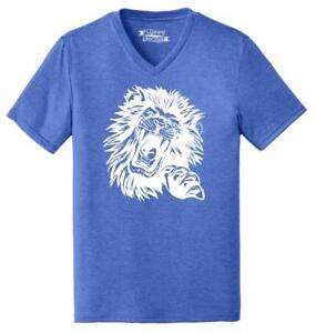 Mens-Lion-Face-Triblend-V-Neck-Animal-Graphic