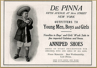 Bright 1909 De Pinna Outfitters Young Men Boys Girls Anniped Shoes Photo Fashion Ad Advertising-print Merchandise & Memorabilia