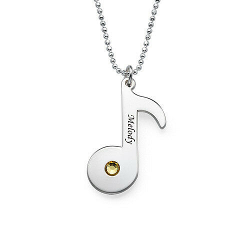 Engraved Music Note Necklace In Sterling Silver 925 - Personalized (usa Seller)