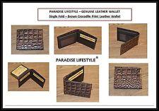 Womens Mens Wallet Croco Print Credit Card Holder Purses Black Pouches Brown Bag