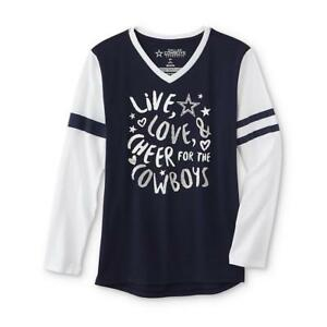 22c65130fb6 Dallas Cowboys NFL Girls' Graphic Long-Sleeve V-Neck T-Shirt Large ...