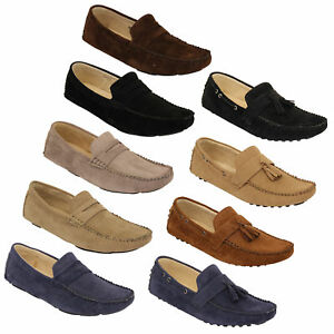 Mens-Moccasins-Suede-Leather-Look-Shoes-Boat-Slip-On-Tassel-Loafers-Smart-Formal