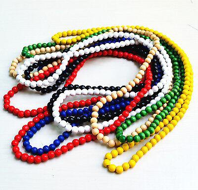 """Good Quaility Hiphop Natural Wood Beads Plain Chain Necklace 35"""" 7 Colors"""