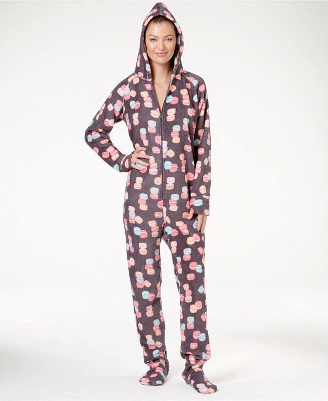 Jennifer Moore Grey Macaroons Hooded Fleece Footed Pajamas Jumpsuit L,XL