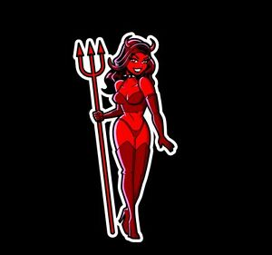 devil pinup girl woman laptop or automotive sticker decal waterproof