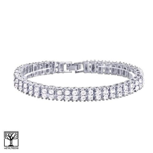 "20/"" 24/"" Double Tennis Chain /& 2 Row Bracelet  SET Men/'s Women/'s Silver Toned S"