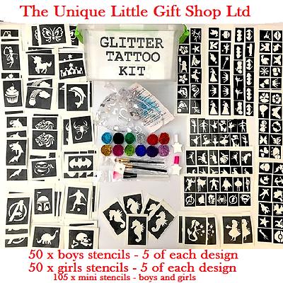 Glitter Tatuaggio Kit Boy Girl 205 Stencil 12 Con Brillanti Scatola Di Immagazzinaggio O Ricarica Stencil-mostra Il Titolo Originale Regalo Ideale Per Tutte Le Occasioni