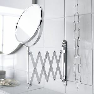 Chrome Wall Mounted Magnifying Extendable Shaving Vanity Makeup