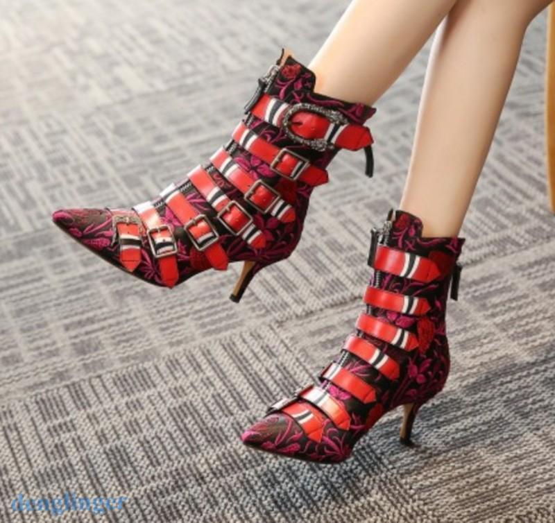 donna Pointer Toe Punk Kitten Heel Buckle Leather Ankle stivali scarpe Zipper Dimensione