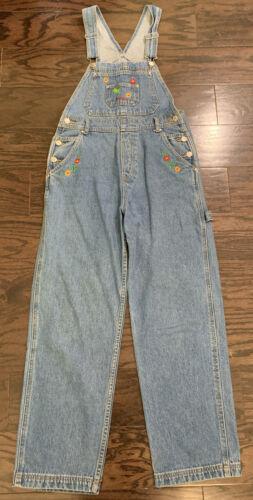 Vintage 1990's Jordache Denim Blue Jean Floral Bib