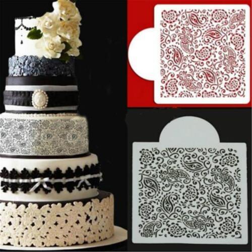 Paisley Fleur Fondant Gâteau Moule Cupcake Border Stencil Baking Décoration Sugarcraft