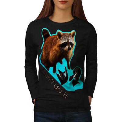 100% Vero Wellcoda Racoon Bestia Carino Da Donna Manica Lunga T-shirt, Innocenti Casual Design- Il Consumo Regolare Di Tè Migliora La Salute