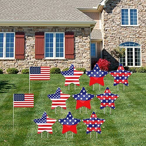 4th of July Yard Sign and Outdoor Lawn Decorations Memorial Day USA Patriotic