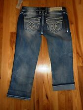 NWT LADIES ROCK REVIVAL JAYLYN STRETCH CROPPED JEANS  SIZE 28/6 X 22 $149 RTL