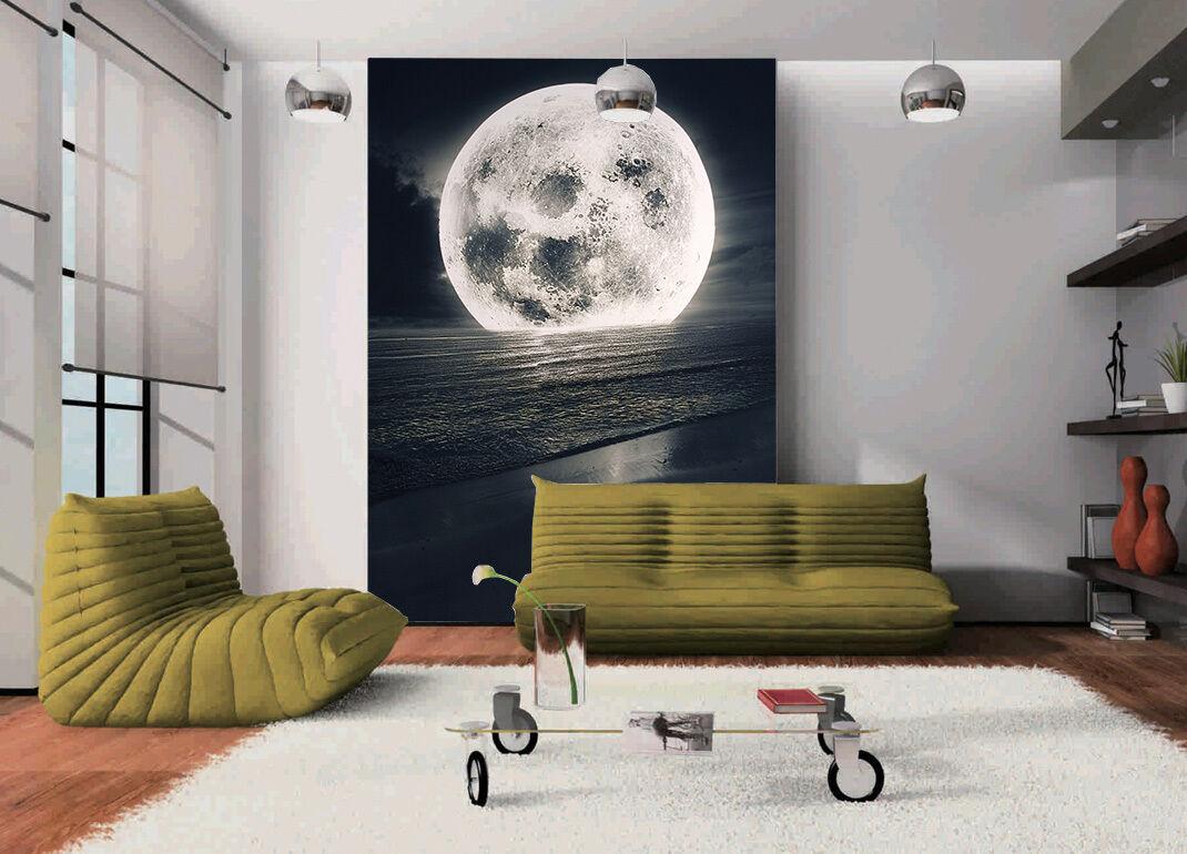 3D Sea Full Moon 769 Wall Paper Wall Print Decal Wall Deco Wall Indoor Murals