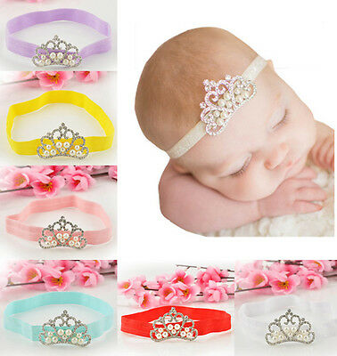 Newborn Baby Kids Girls Infant Crystal Princess Pearl Crown Tiara Hair Headband