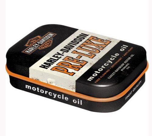 Retro Tin Metal Pill Box HARLEY DAVIDSON PRE-LUXE Mints Motorcycle Oil Licensed