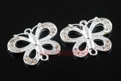 2Charms Crystal Rhinestone Butterfly Bracelet Connector Finding 21x26mm