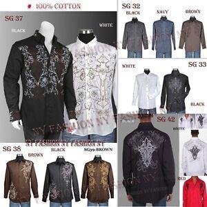 Men-039-s-Stylish-Casual-Embroidered-fashion-Dress-Shirt-Size-M-L-XL-2XL-3XL-4XL
