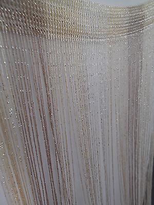 Silver Thread Cream Beige Mix String Tassel Panel Curtain Room Divider Window