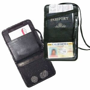 6432b506b31 BLACK LEATHER PASSPORT Boarding pass Ticket ID CARD Thin Holder Neck ...