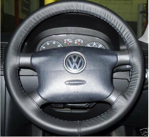 FOR VW CARAVELLE T4 1990-2003 BLACK LEATHER STEERING WHEEL COVER TOP QUALITY NEW