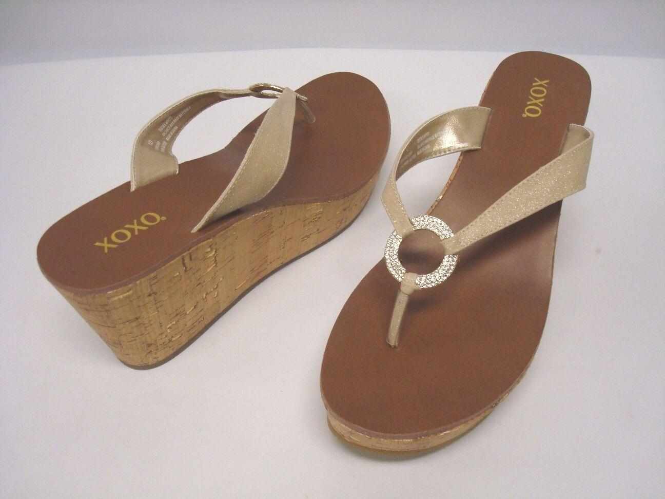 "NIB XOXO Footwear Wedge Sandals  Nude ""Glitter""  Size 9  Jeweled Accent"