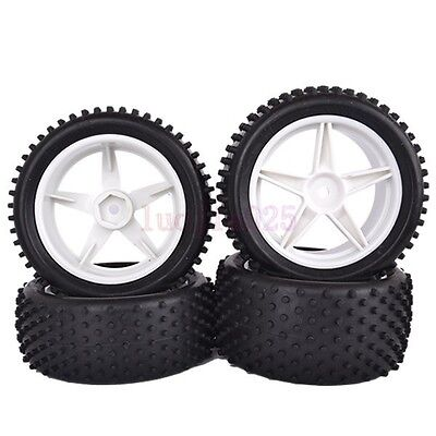 SET RC 1/10 Off-Road Car Buggy Front&Rear Tyre Tires Wheel Rim White 66006-66026