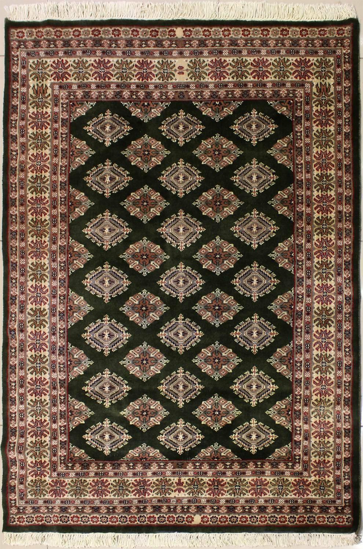 Rugstc 4x6 Bokhara Bokhara Bokhara Jaldar Grün Area Rug, Hand-Knotted,Geometric with Silk Wool d95e51