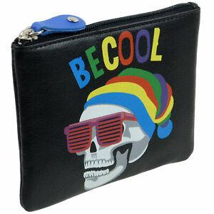 Colourful-Leather-Coin-Purse-Key-Fob-By-Mala-Pinky-Range-Skulls-Teens-Boys-Mens