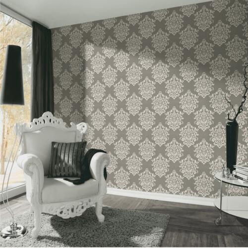 Luxus Vliestapete Barock Ornament taupe grau glanz metallic 34143-2 Hermitage