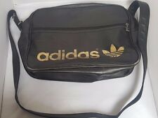 1B5    Vintage Retro Adidas Originals Brown Leather Bag Trefoil Airliner