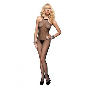 22b9f26e73 Sexy Women s Black Fishnet Halter Crotchless Bodystocking Body ...