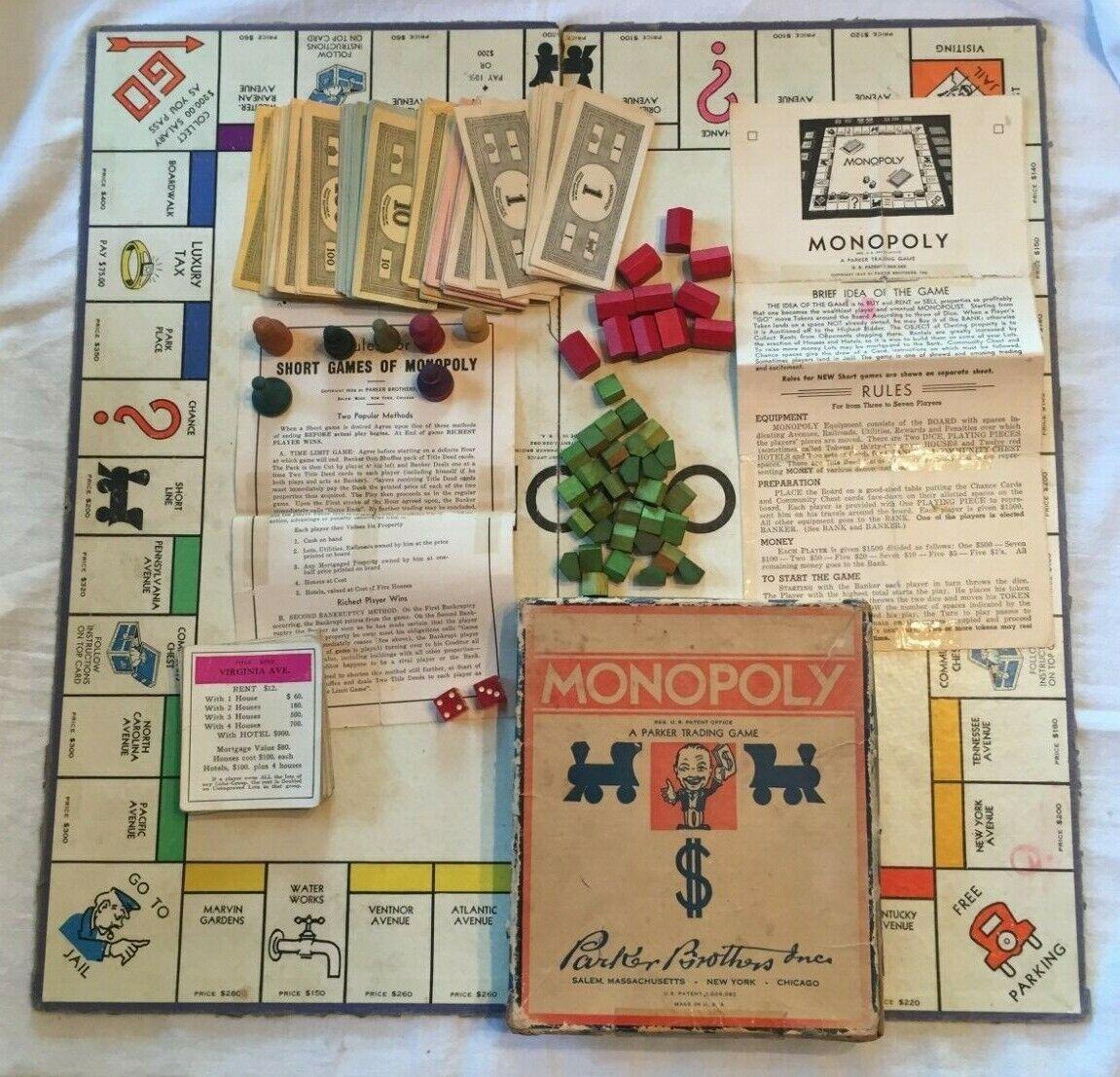 Vintage década de 1940 Monopolio Tablero de Juego con casas de madera Moteles peones hechos dinegro en efectivo