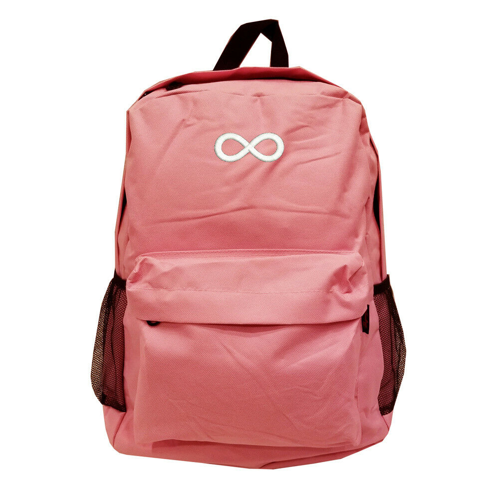 c8d240098f2 BABY PINK INFINITE Backpack Bag with INFINITY INFINITE PINK RING LOGO  EMBROIDERED c7e681